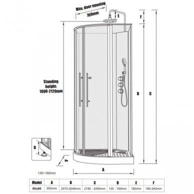 Dušo kabina-boksas Noro Wave su termostatiniu maišytuvu, 90x90cm 4