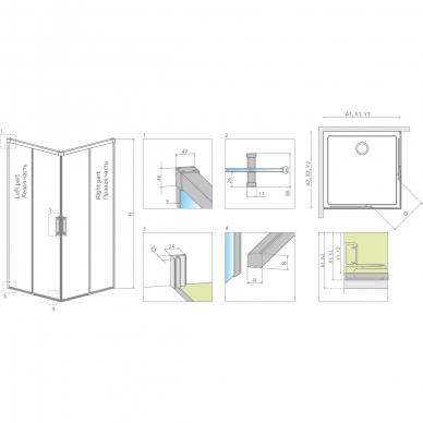 Dušo kabina Radaway Idea Black KDD (dydžių pasirinkimas) 7