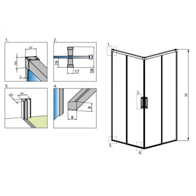 Dušo kabina Radaway Idea Black KDD (dydžių pasirinkimas) 6