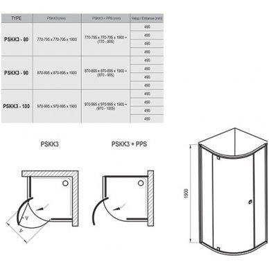 Dušo kabinos Ravak Pivot PSKK3 komplektas 3