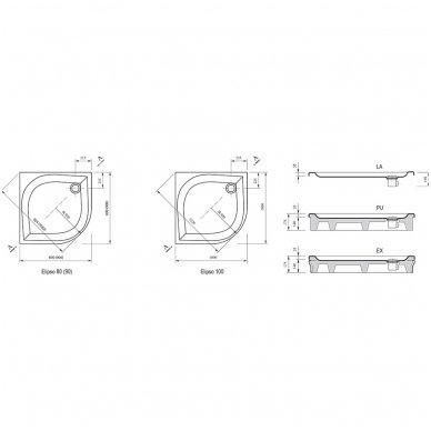 Dušo kabinos Ravak Blix BLCP4-90 komplektas 5