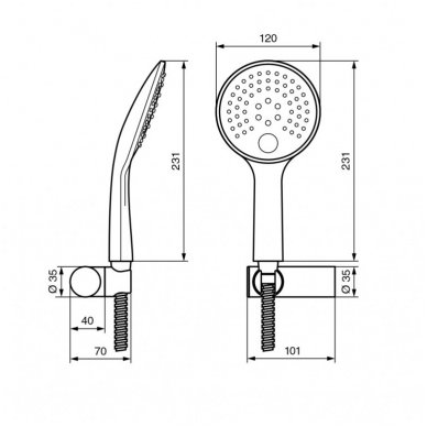 Dušo komplektas Emmevi CR159 su 2 jets ABS antiscale dušo galva 2