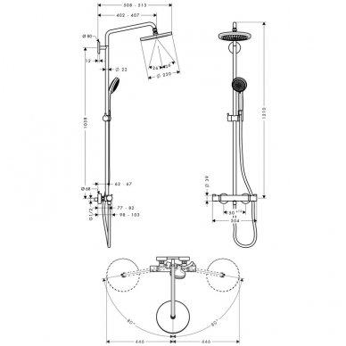 Dušo komplektas Hansgrohe Croma 220 su termostatiniu maišytuvu 2