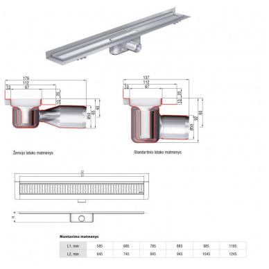 Dušo latakas ACO Tile su įklijuojama plytele vertikaliu flanšu 3