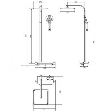 Termostatinė dušo sistema Paffoni Moby rain shower 7