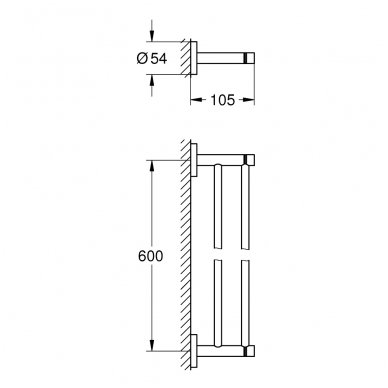 Dviguba rankšluosčių kabykla Grohe Essentials 600 mm 2