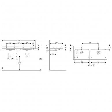 Dvigubas pakabinamas praustuvas Geberit iCon 120x48,5cm 3