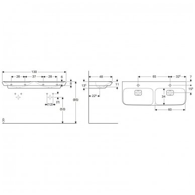 Dvigubas pakabinamas praustuvas Geberit myDay 130x48cm 4