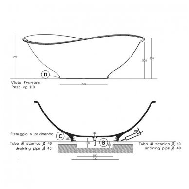 Galassia Pietraluce lieto akmens laisvai pastatoma vonia 4
