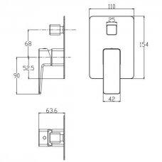 Grafito spalvos potinkinis vonios/dušo maišytuvas Omnires Parma PM7435GR