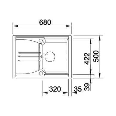 Granitinė plautuvė Blanco Enos 40 S (68X50 cm) 4