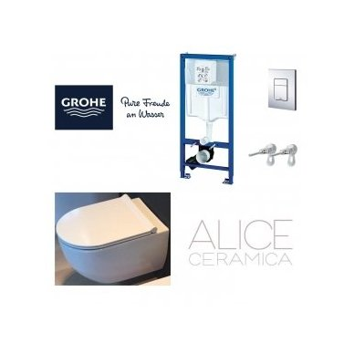 GROHE ir Alice Ceramica Unica RIMLESS su SLIM soft close WC komplektas