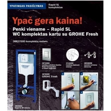 Grohe 5 in 1 rėmo ir klozeto Laufen Pro Rimless su Slim Soft close dangčiu komplektas 9