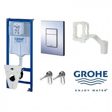 Grohe 5 in 1 rėmo ir klozeto Laufen Pro Rimless su Slim Soft close dangčiu komplektas 10