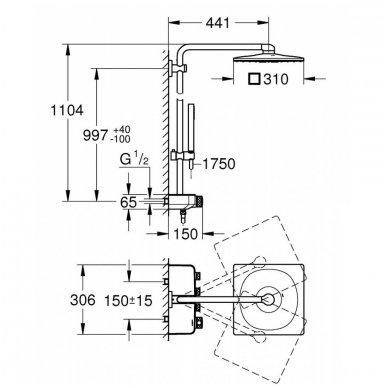 Grohe termostatinė lietaus dušo sistema Euphoria SmartControl 310 Duo Kvadratinė 8