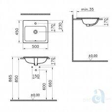 Įleidžiamas praustuvas Vitra S20 500x450 mm.