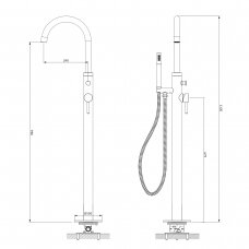 Juodas grindinis maišytuvas voniai Omnires Y1233BLGL Y