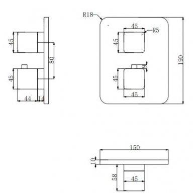 Juoda potinkinė termostatinė dušo sistema Omnires SYS PM11 4