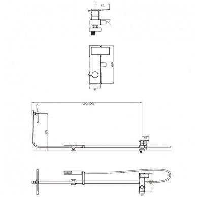 Juoda virštinkinė dušo sistema Omnires Parma PM7444BL 2