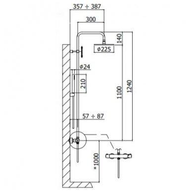 Juoda virštinkinė termostatinė dušo sistema Paffoni Light 3