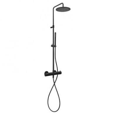 Juoda virštinkinė termostatinė dušo sistema Paffoni Light 2