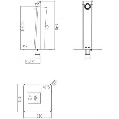 Juodas potinkinis vonios maišytuvas su rankiniu dušu Omnires Parma SYSPMW01BL 6