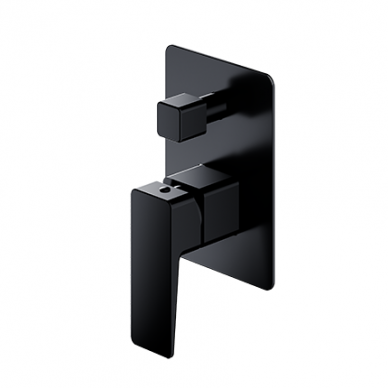 Juodas potinkinis vonios maišytuvas su rankiniu dušu Omnires Parma SYSPMW01BL 2