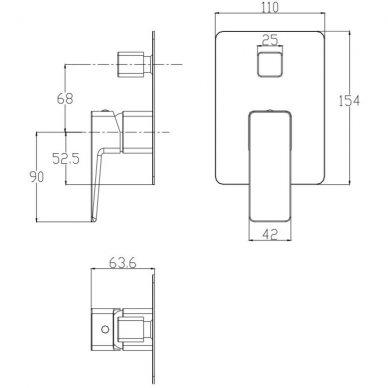 Juodas potinkinis vonios maišytuvas su rankiniu dušu Omnires Parma SYSPMW01BL 5