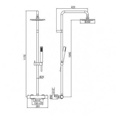 Juodos spalvos virštinkinė dušo sistema Alpi Blue su termostatiniu maišytuvu 2