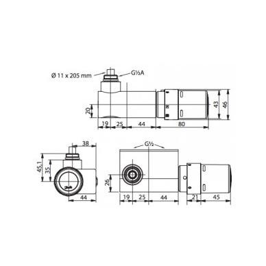 Kampinis termostatinis elementas rankšluosčių džiovintuvams Danfoss 4