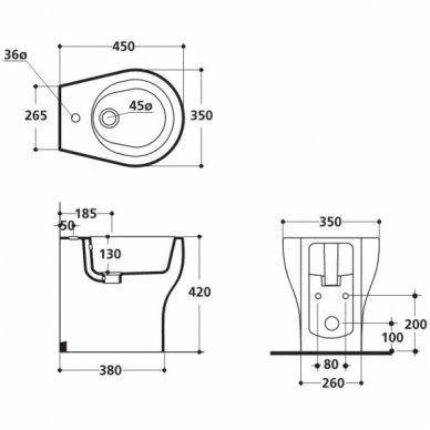 Kerasan pastatoma kompaktiška bidė K09 3621 2