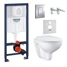 Komplektas 4 in1: potinkinis WC rėmas + mygtukas Nova Cosmo chromas + tvirtinimai + Grohe Bau klozetas su SC dangčiu