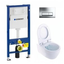 Komplektas: potinkinis WC rėmas Geberit Duofix + pakabinamas klozetas Geberit iCon Rimless su SC dangčiu + vandens nuleidimo mygtukas