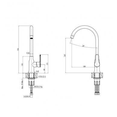 Komplektas: Granitinė plautuvė Alveus Formic 20 ir maišytuvas Lola (auksas/varis) 3