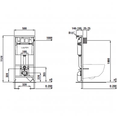 Komplektas Laufen: unitazas wc Pro New Rimless su slim softclose ir rėmas lis cw1 su mygtuku 5