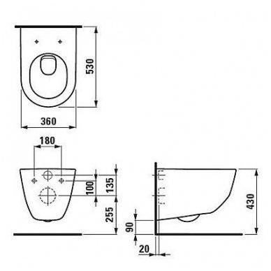 Komplektas Laufen: unitazas wc Pro New Rimless su slim softclose ir rėmas lis cw1 su mygtuku 4