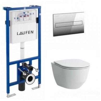 Komplektas Laufen: unitazas wc Pro New Rimless su slim softclose ir rėmas lis cw1 su mygtuku