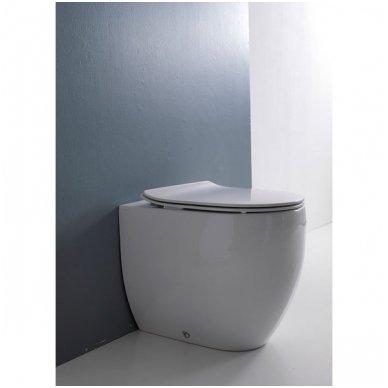 Komplektas: potinkinis bakelis Tece su mygtuku Loop+ Kerasan Flo pristatomas WC 3