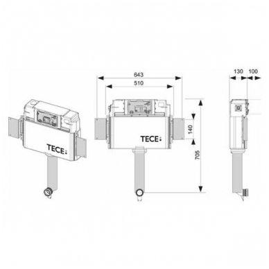 Komplektas: potinkinis bakelis Tece su mygtuku Loop+ Kerasan Flo pristatomas WC 4
