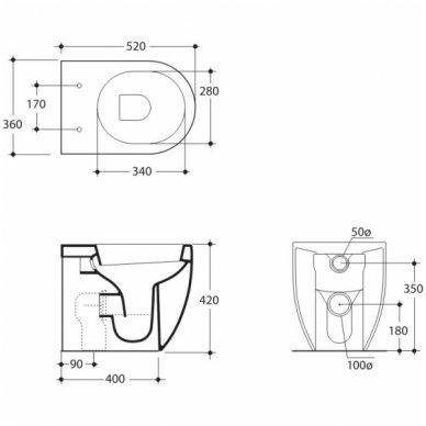 Komplektas: potinkinis bakelis Tece su mygtuku Loop+ Kerasan Flo pristatomas WC 5