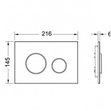 Komplektas: potinkinis bakelis Tece su mygtuku Loop+ Kerasan Flo pristatomas WC 6
