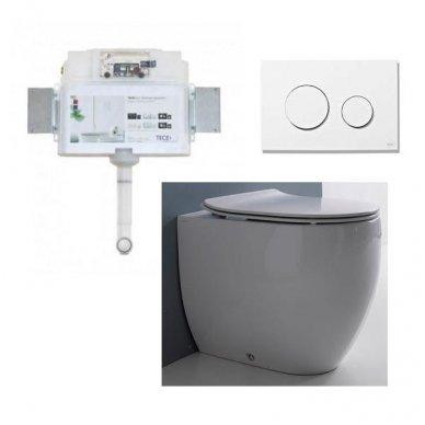 Komplektas: potinkinis bakelis Tece su mygtuku Loop+ Kerasan Flo pristatomas WC