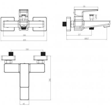 Nerūd. plieno spalvos komplektas voniai Omnires Parma PM7431 IN 2
