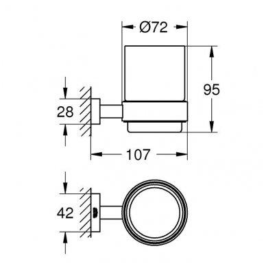 Laikiklis su stikline Grohe Essentials Cube 2