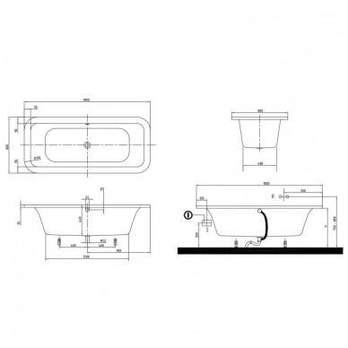 Laisvai pastatoma akrilinė vonia Villeroy&Boch Loop & Friends Duo 180x80 5