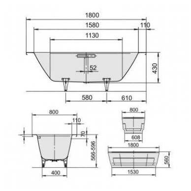 Laisvai pastatoma plieninė vonia Kaldewei Classic Duo Oval Wide 180x80 4