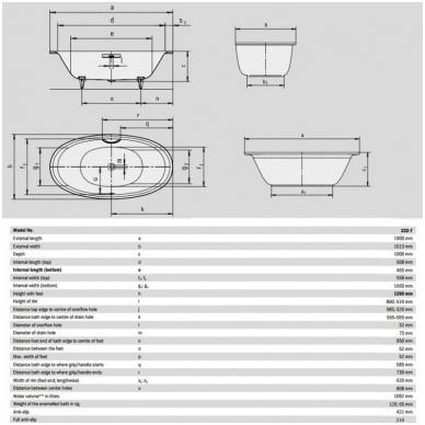 Laisvai pastatoma plieninė vonia Kaldewei Ellipsio Duo Oval 190x100 7