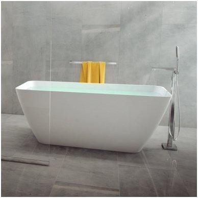Lieto akmens vonia Parma + grindinis maišytuvas Omnires Apure AP2233