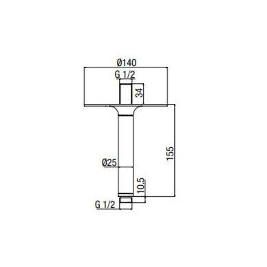 Lubinis stacionarios dušo galvos laikiklis Alpi Naboo 150 2