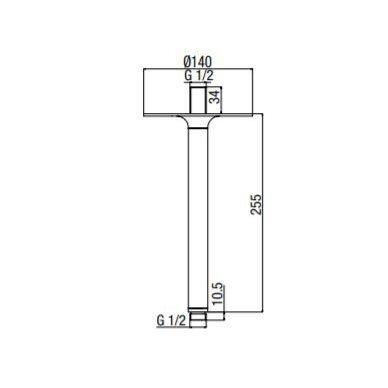 Lubinis stacionarios dušo galvos laikiklis Alpi Naboo 250 2